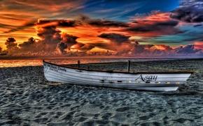 Picture sea, beach, the sky, clouds, landscape, sunset, nature