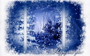 Picture winter, snow, trees, snowflakes, pattern, tree, window, New year, Happy New Year