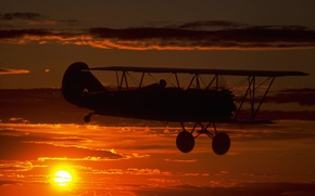 Picture The SKY, CLOUDS, FLIGHT, SUNSET, The PLANE, DAL, DAWN, CHASSIS, SILHOUETTE, PILOT