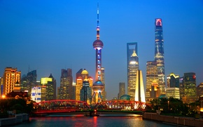 Picture night, bridge, lights, river, home, skyscrapers, China, tower, Shanghai