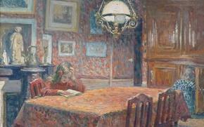 Picture table, room, interior, picture, girl, genre, Henri Lebacq, Under the lamp