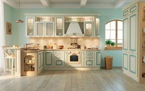 Picture design, blue, furniture, interior, kitchen, beige