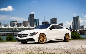 Picture Mercedes, AMG, Gold, Wheels, S63