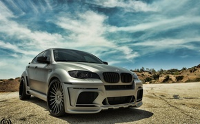 Picture road, the sky, the sun, clouds, tuning, bmw, BMW, tuning, the asvaltu