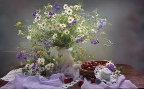 Picture summer, chamomile, bouquet, hat, cherry