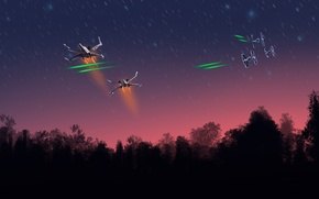 Picture star wars, starfighter, ships, X-wing, TIE Fighter