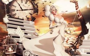 Picture girl, fantasy, dress, art, Nadja Baxter, Dreams:Running Late