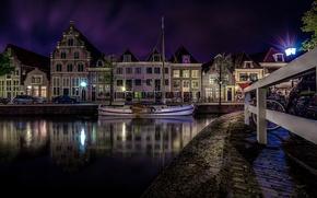 Picture night, lights, home, Netherlands, Horn, Naberezhnaya