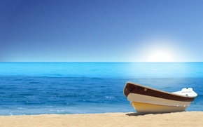 Wallpaper beach, water, boat, sand