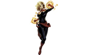 Picture white background, Marvel, comic, Ms. Marvel, Carol Danvers, Captain Marvel, Captain Marvel, Carol Danvers, Ms …