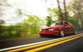 Picture road, red, speed, volkswagen, red, Golf, golf, Volkswagen, MK3