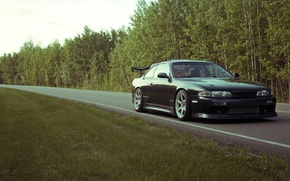 Picture road, auto, photo, desktop, Nissan, cars, auto, tuning, wallpapers, tuning cars, Nissan s14, S14