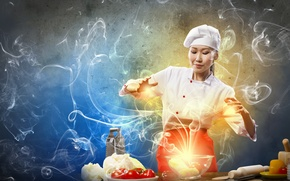 Picture girl, creative, smoke, cook, Asian, vegetables, tomatoes, cabbage, cooking, grater