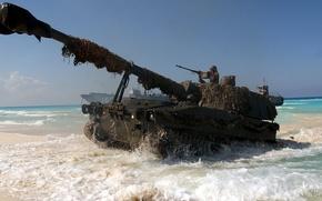 Wallpaper the howitzers. beach, landing, landing, M109, self-propelled, class, American ACS