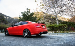 Picture red, Mercedes Benz, AMG, C63, rearside