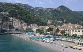 Wallpaper sea, beach, mountains, home, Italy, resort, Campaign, Minori