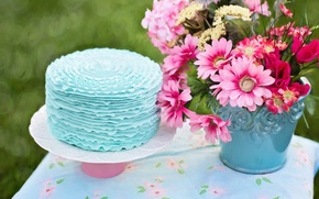 Picture flowers, table, bucket, cake
