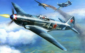 Picture battle., the plane, Soviet, one, the, fighters, Frontline, light, The Yak-3, 1943., the world, single-engine, ...