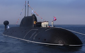 """Picture holiday, boat, underwater, The Premier League, atomic, Pacific Fleet, the project 971м, Navy Day, """"Kuzbass"""""""