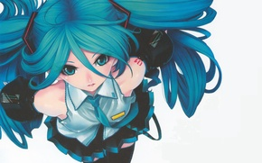 Picture blue eyes, vocaloid, long hair, Vocaloid, miku hatsune, Miku Hatsune