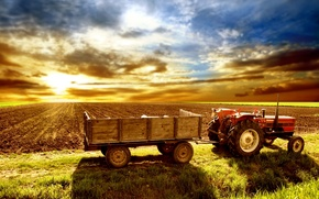 Wallpaper the sky, tractor, field, cart