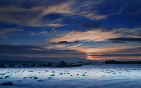 Picture winter, field, the sky, landscape, sunset, nature