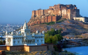 Picture the city, river, castle, mountain, India, fortress, Rajasthan, Mehrangarh fort, blue city, Jodhpur