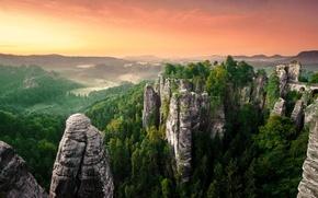 Picture forest, landscape, rocks, panorama, haze