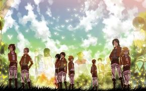 Picture sadness, field, girls, soldiers, guys, silhouettes, art, mikasa ackerman, eren jaeger, Shingeki no Kyojin, christa …