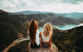 Picture nature, girls, panorama, sitting