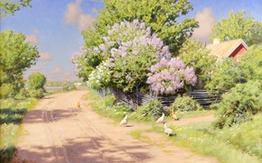 Wallpaper flowers, picture, Johan Krouthen, chickens, road, the bushes, roof, village, the fence, house, lilac, shadow, ...