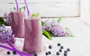 Wallpaper glass, blueberries, juice, drinks, two, lilac, tube