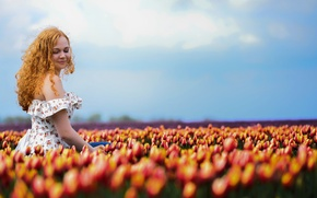 Picture summer, girl, tulips