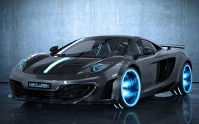 Picture black, McLaren, neon, carbon, black, MP4-12C, TRON, McLaren, MecLaren, TR2N