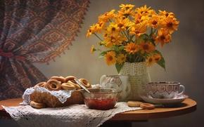 Wallpaper rudbeckia, still life, jam, Cup, drying
