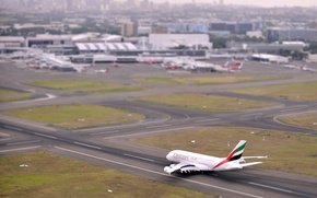 Picture The plane, Airport, Strip, Day, Aviation, The view from the top, A380, The rise, Airbus