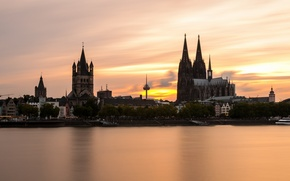 Picture river, home, the evening, Germany, Cathedral, Rhine, Cologne