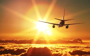 Picture the sky, the sun, clouds, rays, the plane, beauty, flies