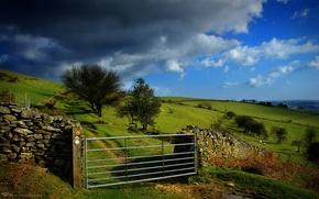 Wallpaper field, clouds, gate