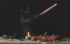 Picture tea, candle, tube, kettle, cradle, Puer