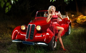 Picture forest, red, retro, color, Girl, car, pin-up