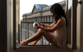 Picture girl, ball, window, Alexiane