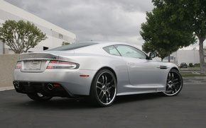 Picture clouds, headlights, the building, Aston Martin, Aston Martin, rear view, DBS, trees, wheels, DBS, the ...