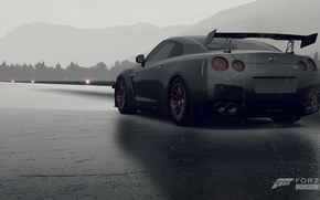 Picture rain, Nissan, GT-R, runway, Forza horizon