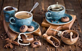 Picture kettle, set, cakes, cookies, coffee, Board, Anna Verdina, chocolate, blue, spices, Cup, grain, dishes