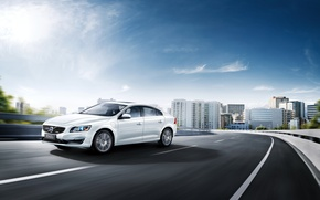 Picture The sky, White, Volvo, Cars, 2015, Twin Engine, S60L
