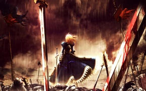 Picture battle, saber, fate stay night