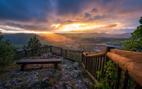 Picture the sky, clouds, trees, landscape, sunset, mountains, the city, hills, France, view, height, the fence, …