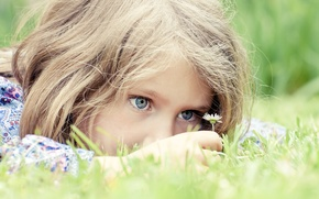 Picture grass, joy, flowers, hope, children, childhood, the game, child, play, grass, blue eyes, blue eyes, …
