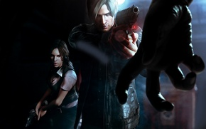 Picture girl, hand, man, zombies, gun, Resident Evil 6 art